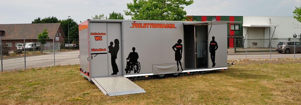 Toilettenwagen Verleih Damen-, Herren- und Behinderten WC nach Din 18024